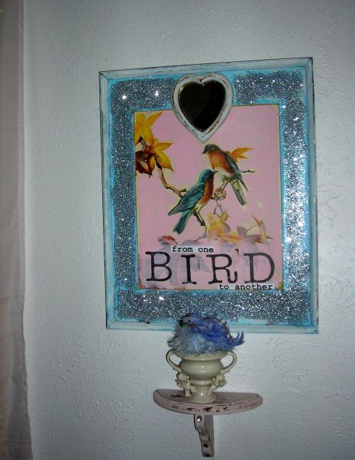 Sue's AWESOME bird creation! I paired it with one of her shabby shelves, holding a cherub vase and the fluffy feathered blue bird I also got from Sue's booth. Love it!