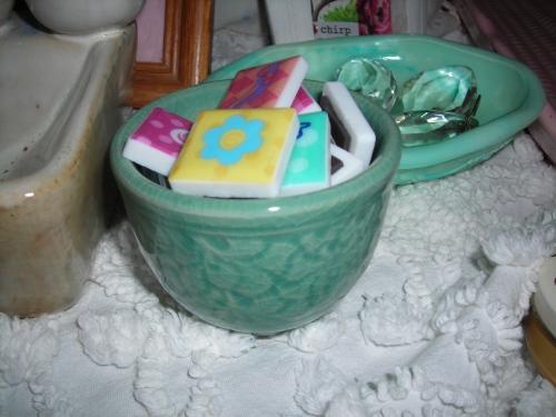 SWEET tiny greenish bowl