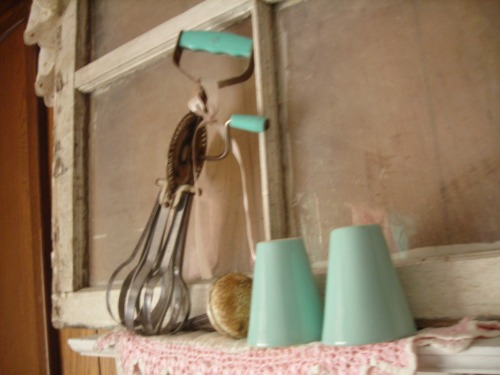 FANTASTIC retro turquoise salt and pepper shakers and hand mixer ... bday gifts from bonnie